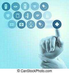 dolgozó, orvos, modern, kéz, orvosság, számítógép, határfelület