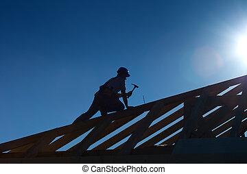 dolgozó, tető, ács, tető, asztalos, vagy