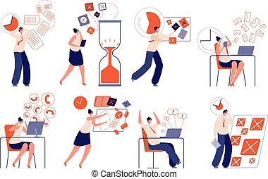 dolgozó, vagy, elmarad, hivatal, tervezés, hangoztat vezetés, kényszer, pánik, szakszerűtlen, businessman., állhatatos, vektor, idő, deadline., egyesített, munka, munkás