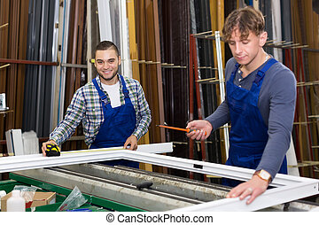 dolgozó, workmen, két, ablak, körvonal