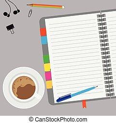 dolgozat, íróasztal, üres, kávécserje, hangjegy