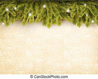 dolgozat, öreg, karácsony, vector., háttér., dekoráció