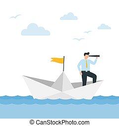 dolgozat, üzlet alkalmaz, vitorlázik, vektor, illustration., látcső, boat., ember
