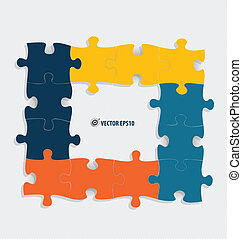 dolgozat, elvág, illustration., vektor, puzzle.