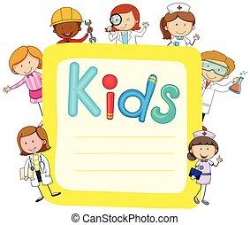 dolgozat, gyerekek, tervezés, foglalkozás