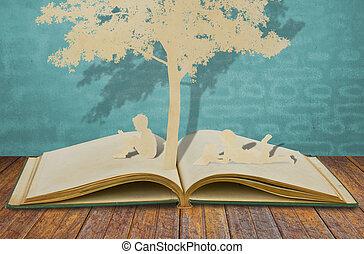 dolgozat, olvas, könyv, elvág, gyerekek