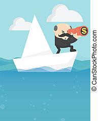dolgozat, tenger, csónakázik, úszó, businessmen