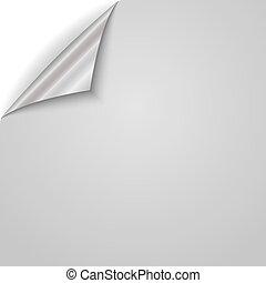 dolgozat, vektor, corner., illustration., göndörített