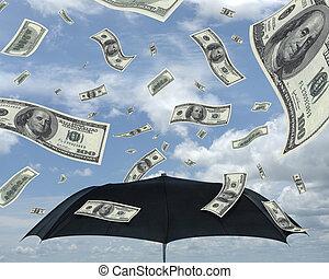 dollárok, eső