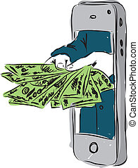 dollárok, smartphone