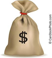 dollars. dollars., pénzestáska, vector.