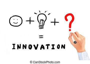 dolog, szükséges, rajz, újítás