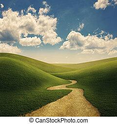 dombok, gyalogjáró, füves