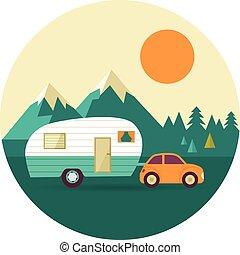 dombok, természet, szüret, kempingező, erdő, vektor, háttér, autó