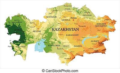 domborzati térkép, kazaksztán