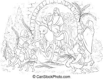 donkey., színezés, krisztus, fronds, (palm, bejárat, fogadtatás, öltözék, book., jézus, sunday), elterjed, pálma, lovaglás, lord, mienk, jeruzsálem, összezsúfol, őt, előbb
