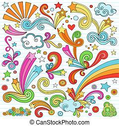 doodles, állhatatos, jegyzetfüzet, vektor