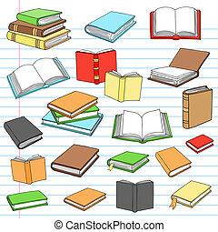 doodles, állhatatos, vektor, előjegyez, jegyzetfüzet
