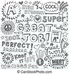doodles, buzdítás, szavak, priase