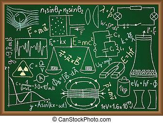 doodles, egyenlet, chalkboard, fizikai
