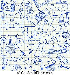 doodles, fizika, seamless, motívum