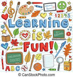doodles, izbogis, állhatatos, hát, tanulás