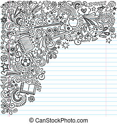 doodles, izbogis, jegyzetfüzet, hát, tinta
