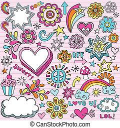 doodles, jegyzetfüzet, izbogis, vektor