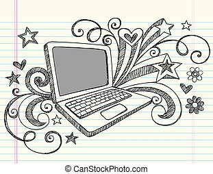 doodles, laptop computer, sketchy