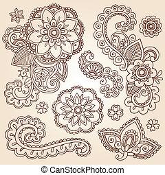 doodles, paisley, hennabokor, virág, mehndi