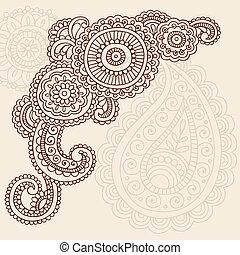 doodles, paisley, vektor, hennabokor, mehndi
