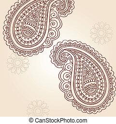 doodles, paisley, vektor, hennabokor