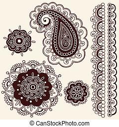 doodles, paisley, vektor, hennabokor, virág