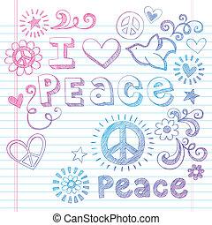 doodles, sketchy, béke, szeret, galamb