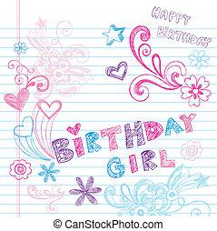 doodles, sketchy, vektor, állhatatos, születésnap