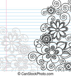 doodles, sketchy, vektor, menstruáció