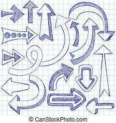 doodles, sketchy, vektor, nyílvesszö, állhatatos