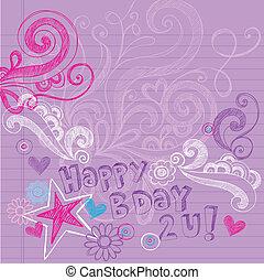 doodles, sketchy, vektor, születésnap