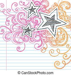 doodles, sketchy, vektor, tervezés, csillaggal díszít