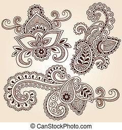 doodles, vektor, állhatatos, hennabokor, jegyzetfüzet