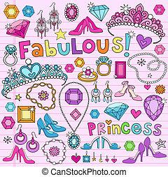 doodles, vektor, állhatatos, hercegnő