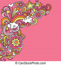 doodles, vektor, psychedelic, jegyzetfüzet