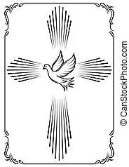 dove., embléma, jelképes, kereszt, ábra, vektor, sablon, church., design.