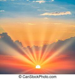 drámai ég, nap, napnyugta, kék