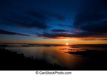 drámai, naplemente óceán