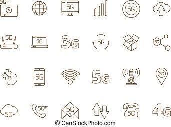 drótnélküli távíró, híradástechnika, mozgatható, jelez, wifi, icons., jelkép, vektor, biztonság, szabad, internet, 4g, 5g, technológia, új