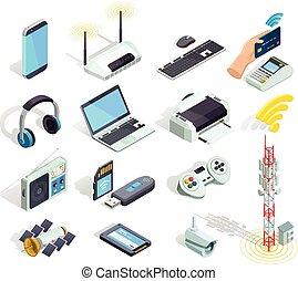 drótnélküli távíró, ikonok, állhatatos, berendezés, isometric, technológia