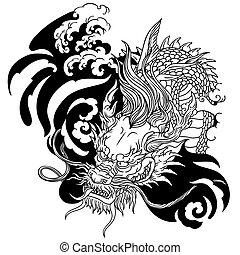 dragon., fej, fehér, ázsiai, fekete