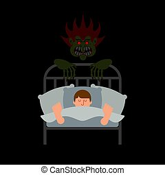 dream., szörny, horror, nightmare., ágy, vektor, ábra, borzasztó, pasas, night.