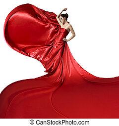 dress., bölcsész, szépség, elszigetelt, kisasszony, fehér, csapkodó, piros